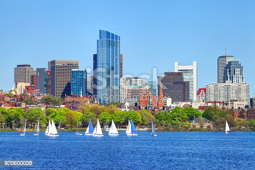 Sailboats on the Charles River in Boston. Boston is the capital and largest city in Masssachusetts. Boston is the largest city in New England