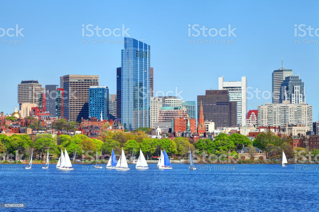 Sailing on the Charles River in Boston stock photo
