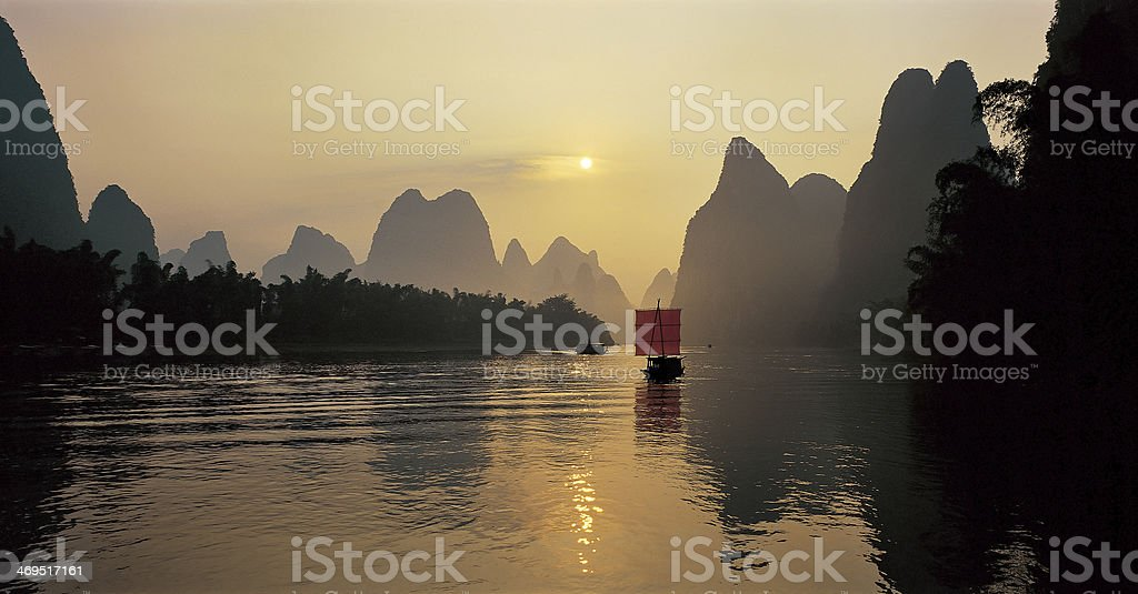 Sailing on the Li river royalty-free stock photo