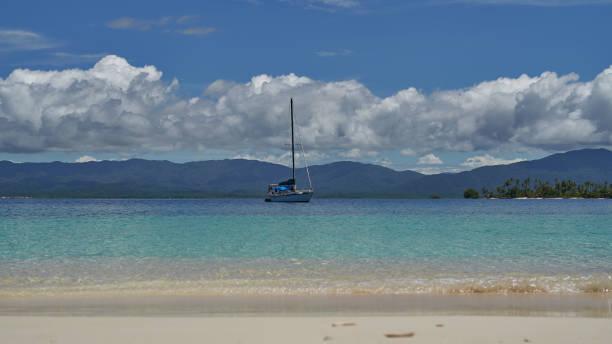 Sailing  on uninhabited islands of archipelago San Blas, Panama stock photo