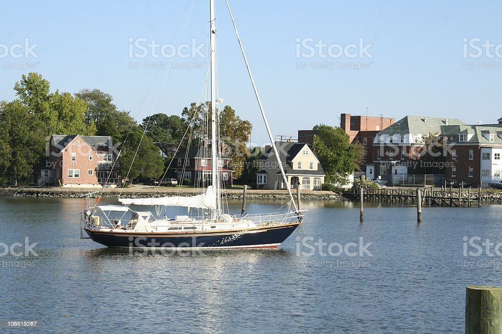 Sailing Out of Harbor stock photo