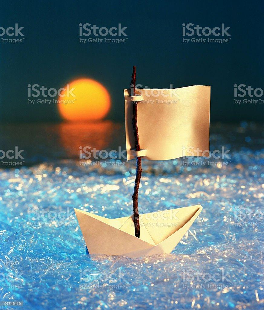 sailing paper ship royalty-free stock photo