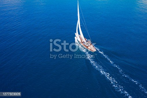 Classic sail boat in Mediterranean sea, aerial view
