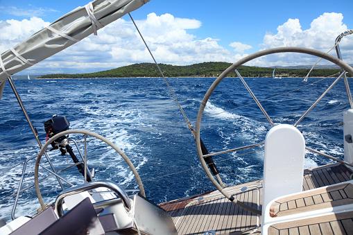 Sailing detail-20 knots of wind-Croatia