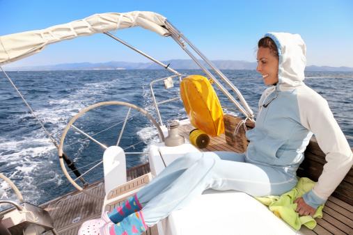Attractive young woman enjoying sailing, Mediterranean Sea, Croatia