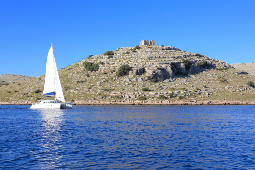 Sailing, Kornati Islands, Mediterranean sea, Croatia.