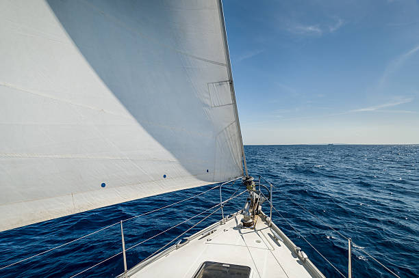 sailing - yacht front view stock photos and pictures