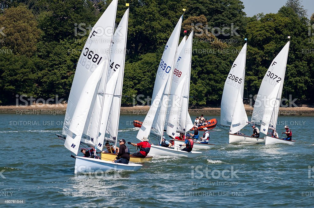 Sailing race at River Orwell, England stock photo