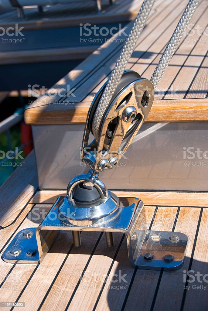 Sailing reel and rope stock photo