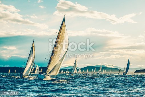 Sailing regatta with sailboats in early morning.