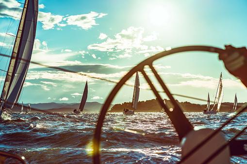 Sailing regatta on sunny autumn morning