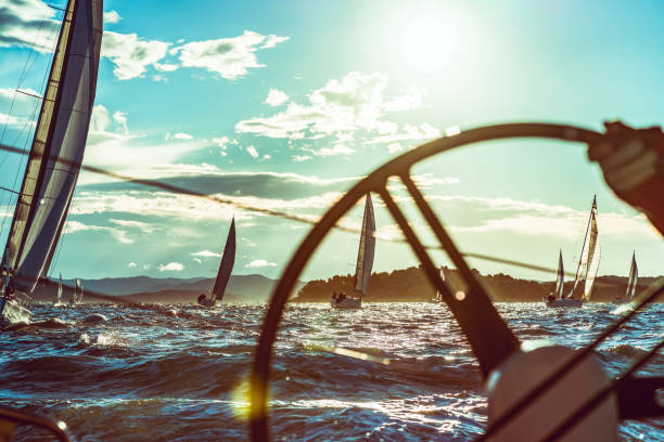 sailing regatta on sunny autumn morning - sail stock pictures, royalty-free photos & images
