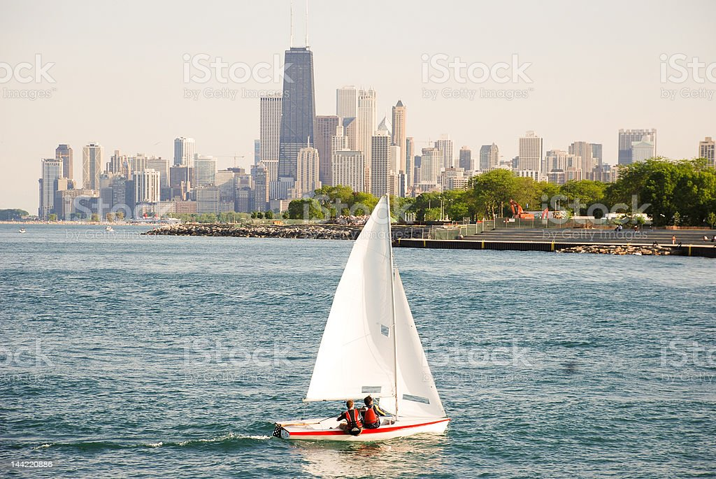 Sailing Season in Lake Michigan, Chicago Illinois stock photo