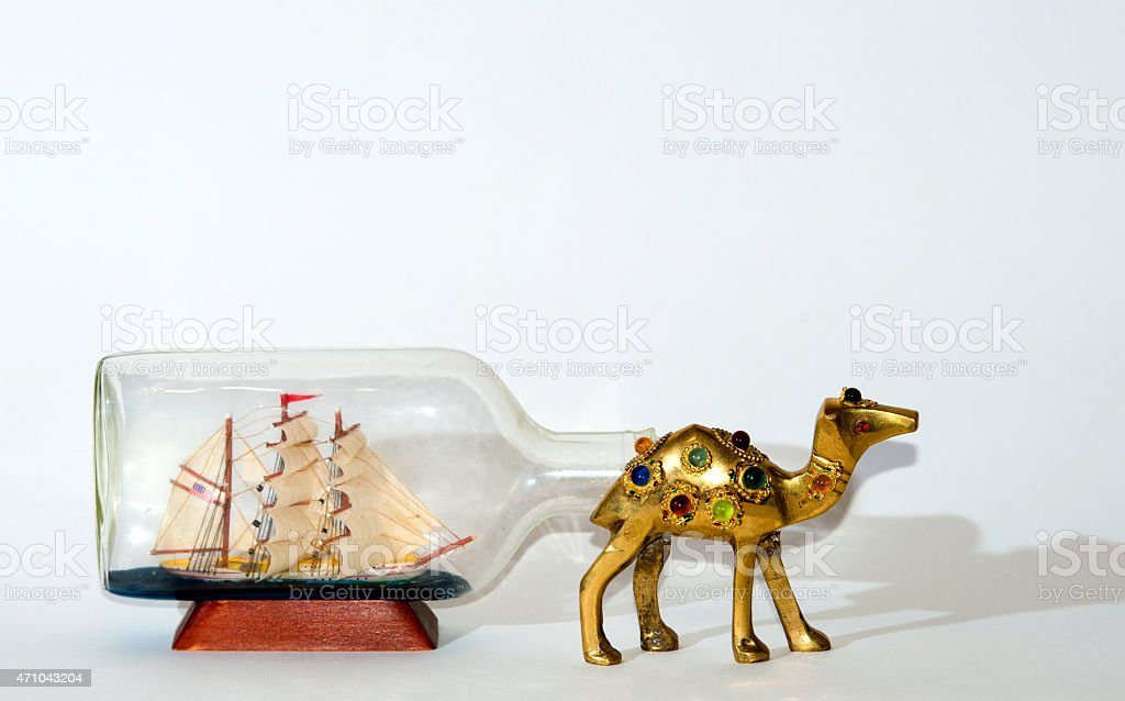 Sailing ship after Camel collage stock photo