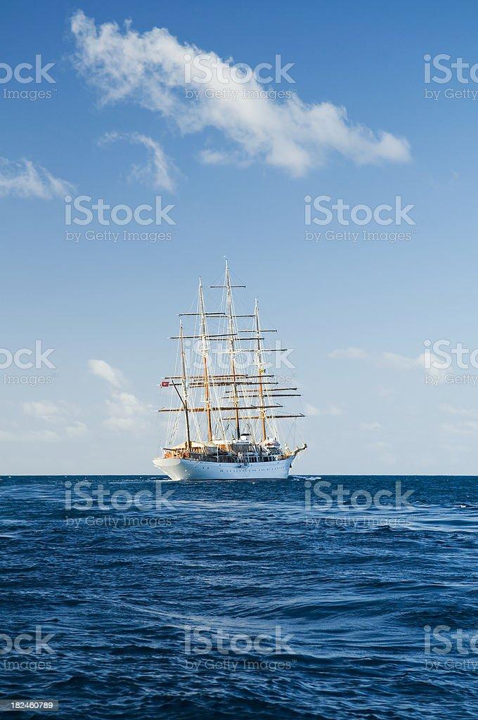 Sailing ship at open sea royalty-free stock photo