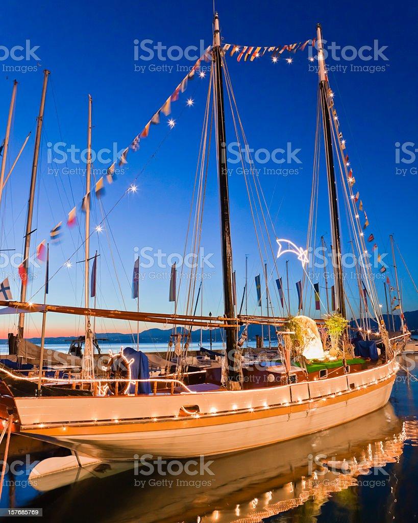 Sailing Ship Decorated for Christmas, Lake Garda stock photo