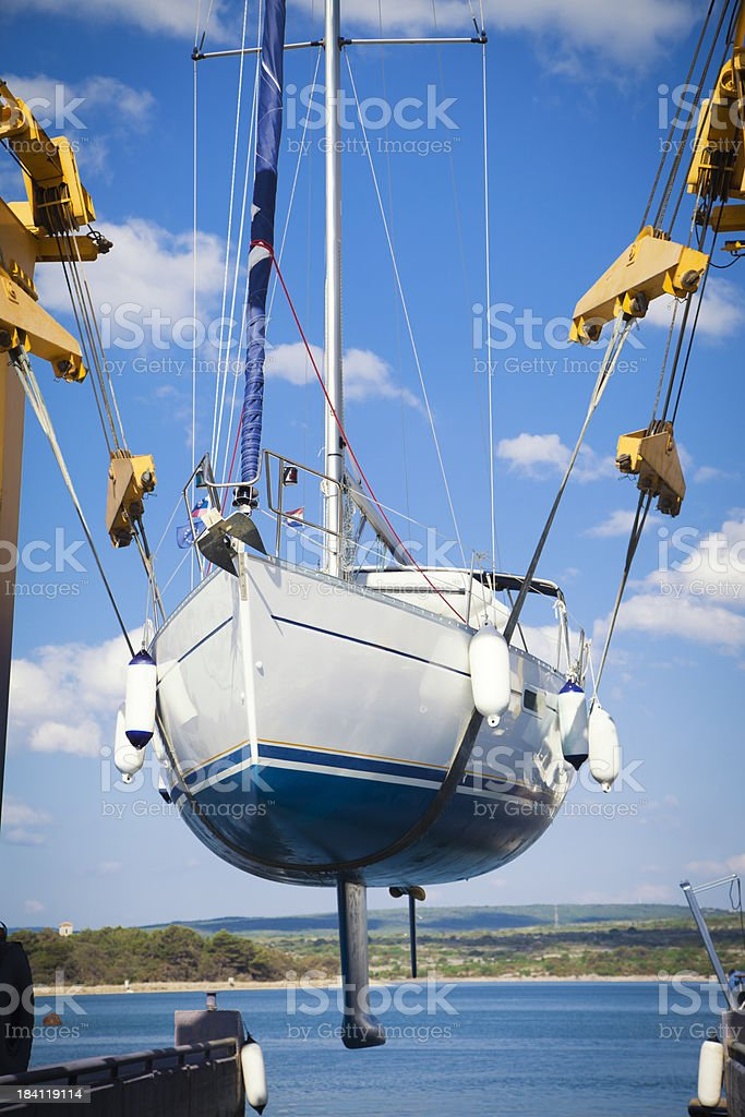 sailing ship launch stock photo
