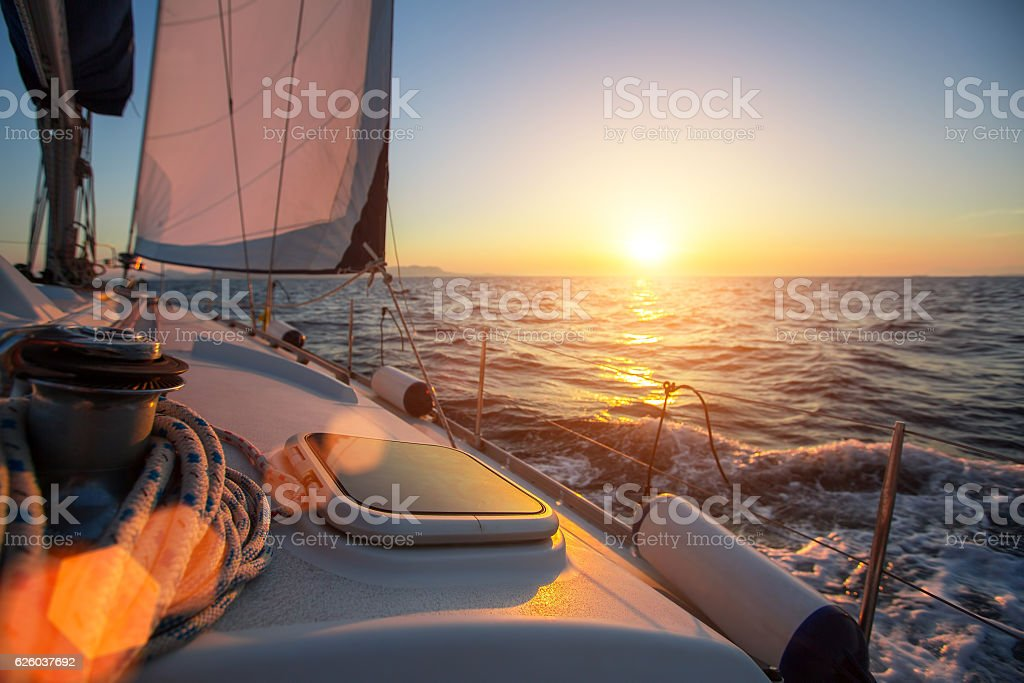 Sailing ship luxury yacht boat in the Sea stock photo
