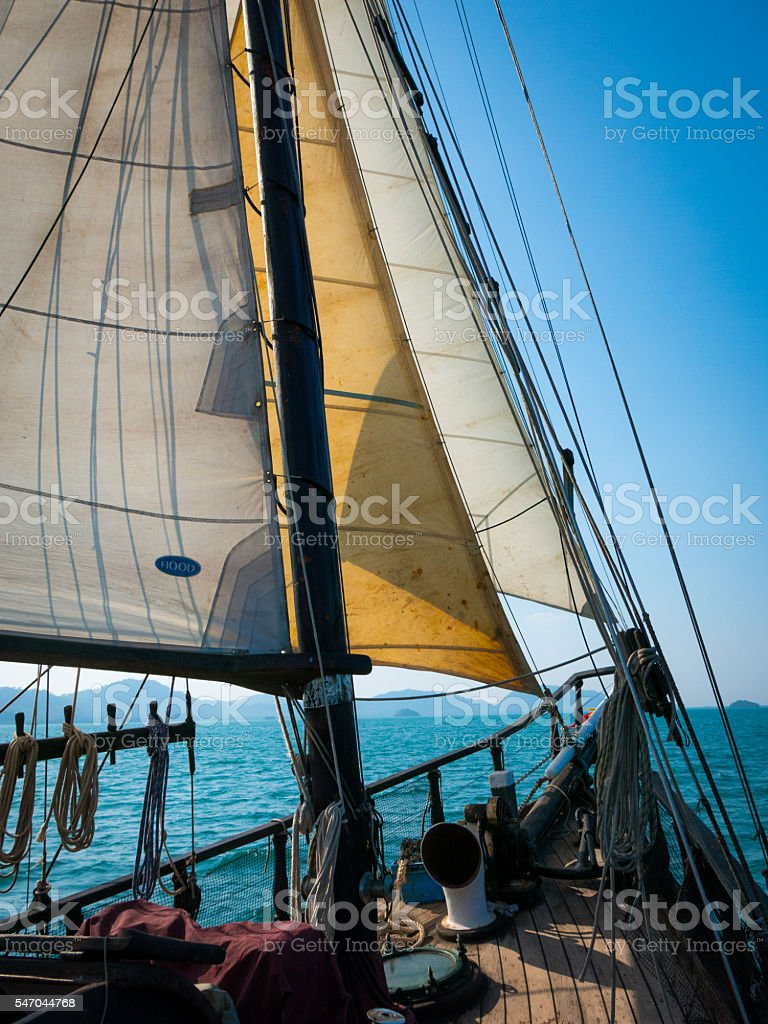 Sailing Ship Mast Deck Boat Sail And Bow Stock Photo ...