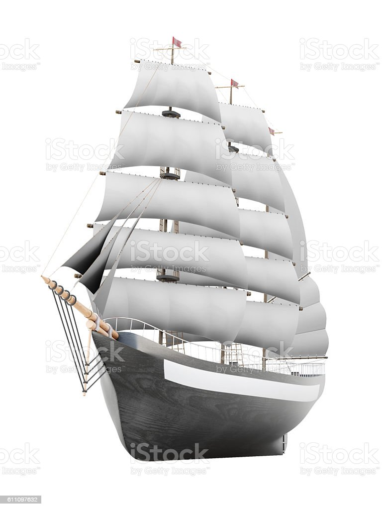 Sailing ship model on a white background. 3d rendering stock photo