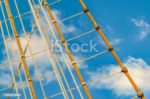 Detail view sailing ship naval school ratline