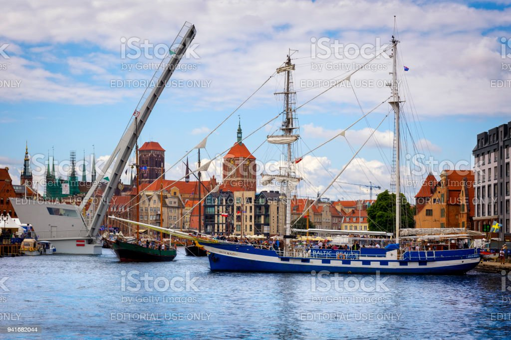 Sailing ship on the Motlawa river in Old Town in Gdansk, Poland stock photo