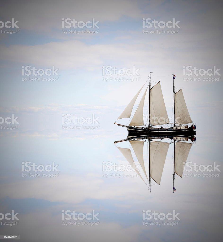 Sailing ship on the sea stock photo