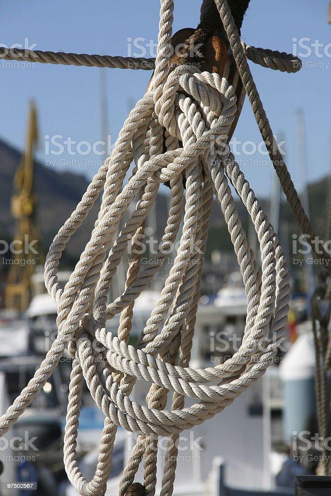 Sailing ship rope royalty-free stock photo