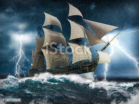 Ocean sailing ship in distress, struggling to stay afloat, in a heavy storm with big waves and lightning, 3d render painting