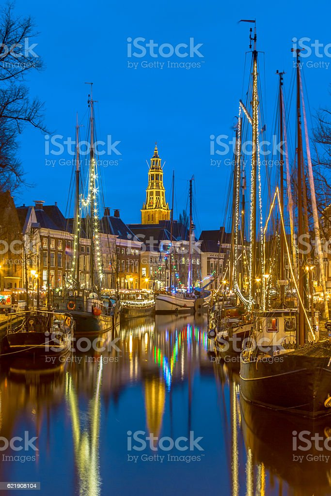 Sailing ships and masts at the Hoge der Aa quay stock photo