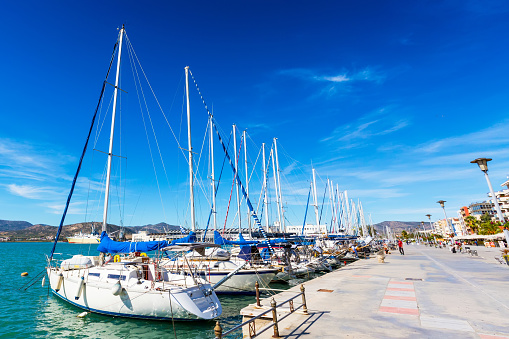 Sailing ships and yachts moored in the port of Volos