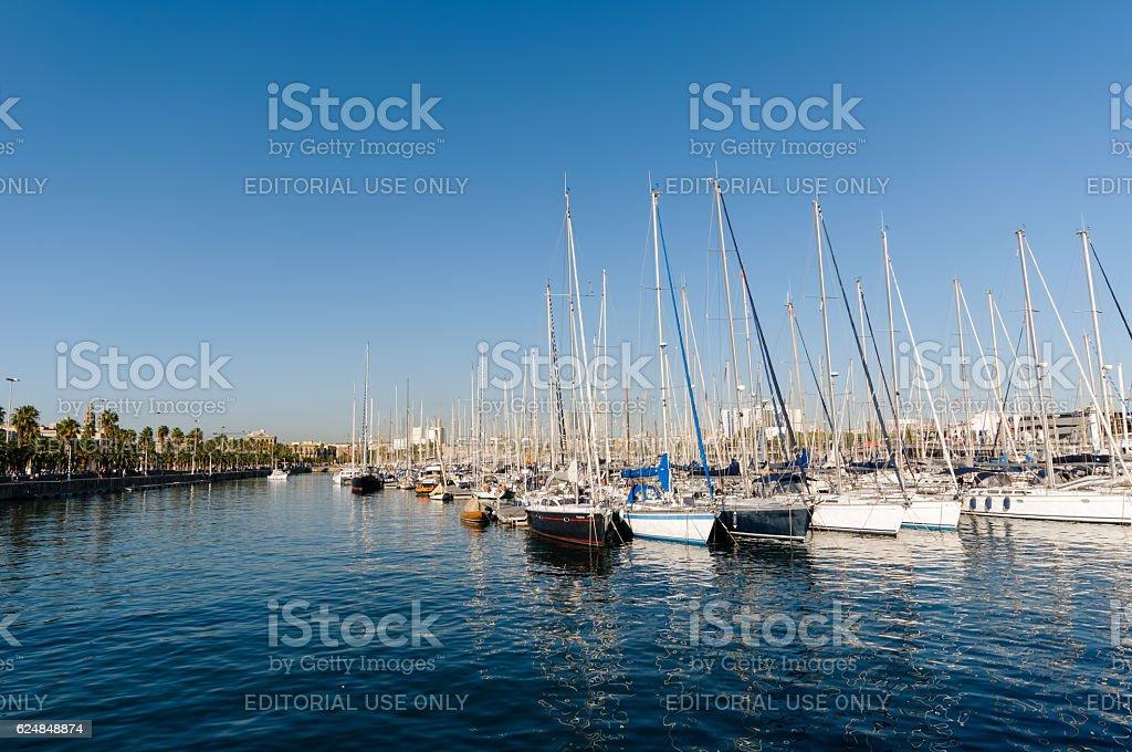 Sailing Ships in Port Vell in Barcelona - Spain. stock photo