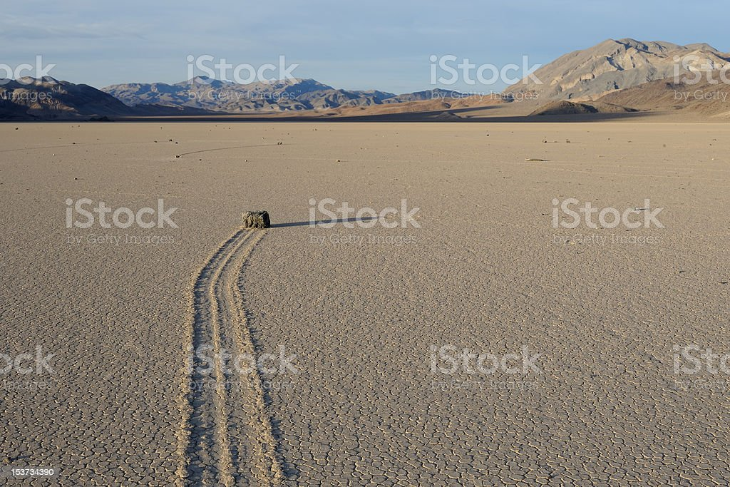 Sailing stone in Death Valley stock photo