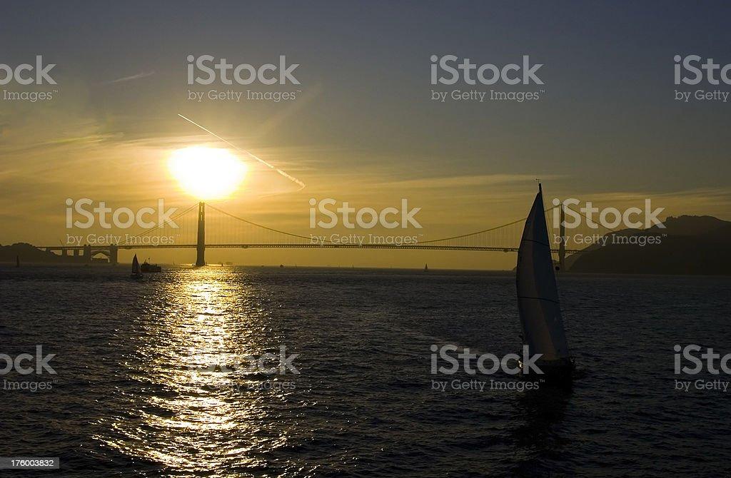 Sailing the Golden Gate Bridge royalty-free stock photo