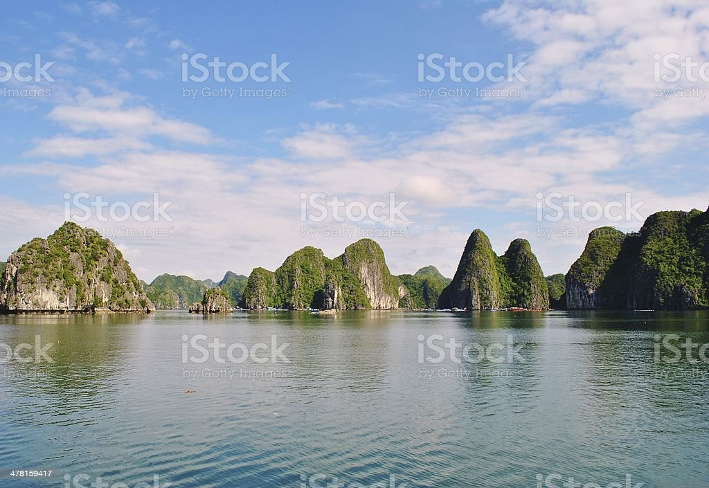 Sailing Through The Limestone Casts Of Halong Bay royalty-free stock photo