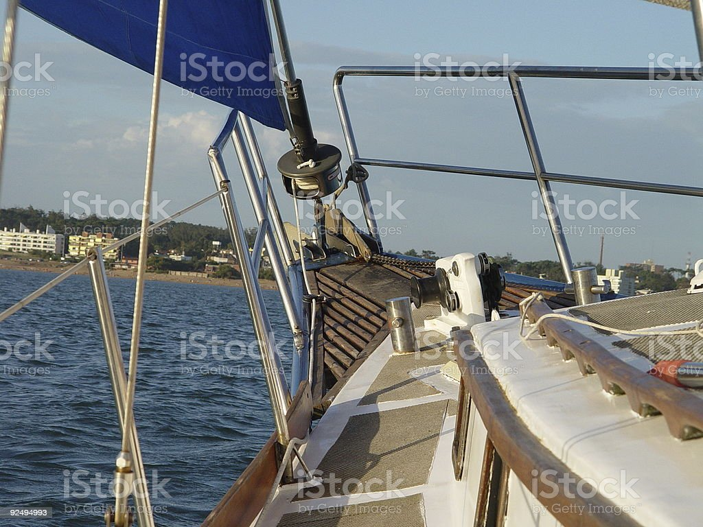 Sailing to seashore royalty-free stock photo