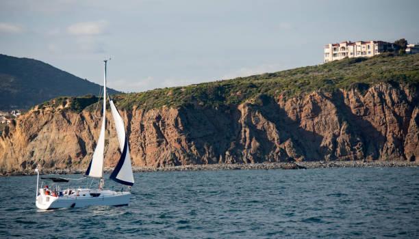 Sailing Toward Dana Point stock photo
