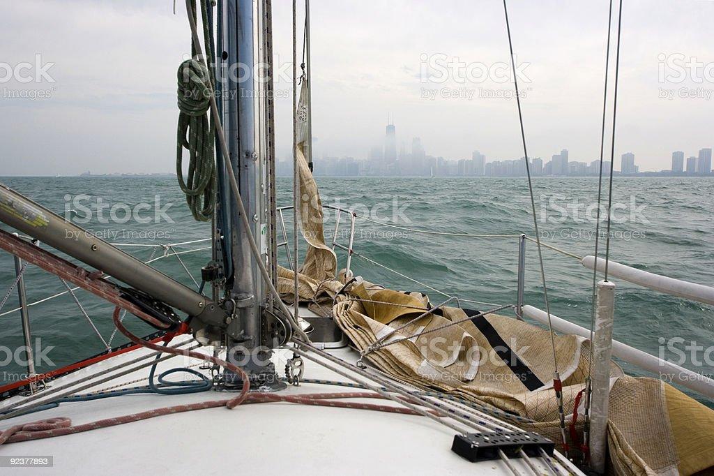 Sailing towards downtown royalty-free stock photo