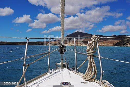A sailing boat in the atlantic ocean. Lanzarote, Spain.  Canary Islands Archipelago