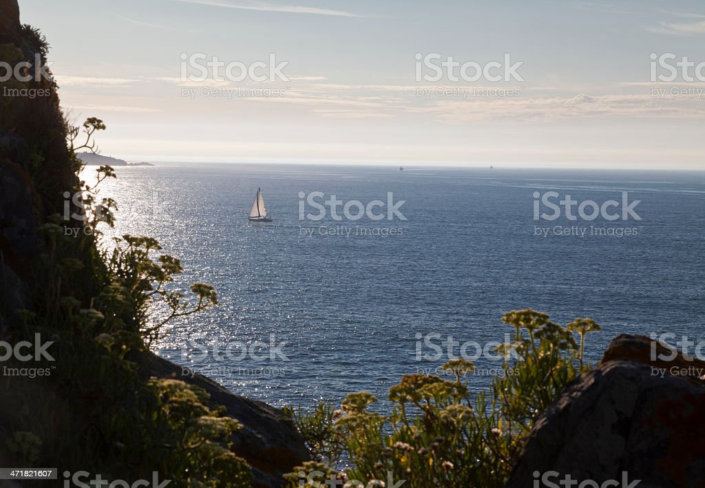 Sailing under the steep Galician coast royalty-free stock photo