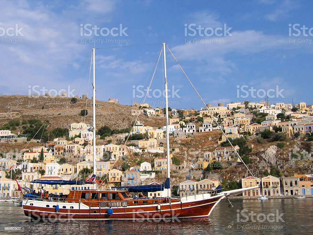 Sailing vessel in the harbor royalty-free stock photo