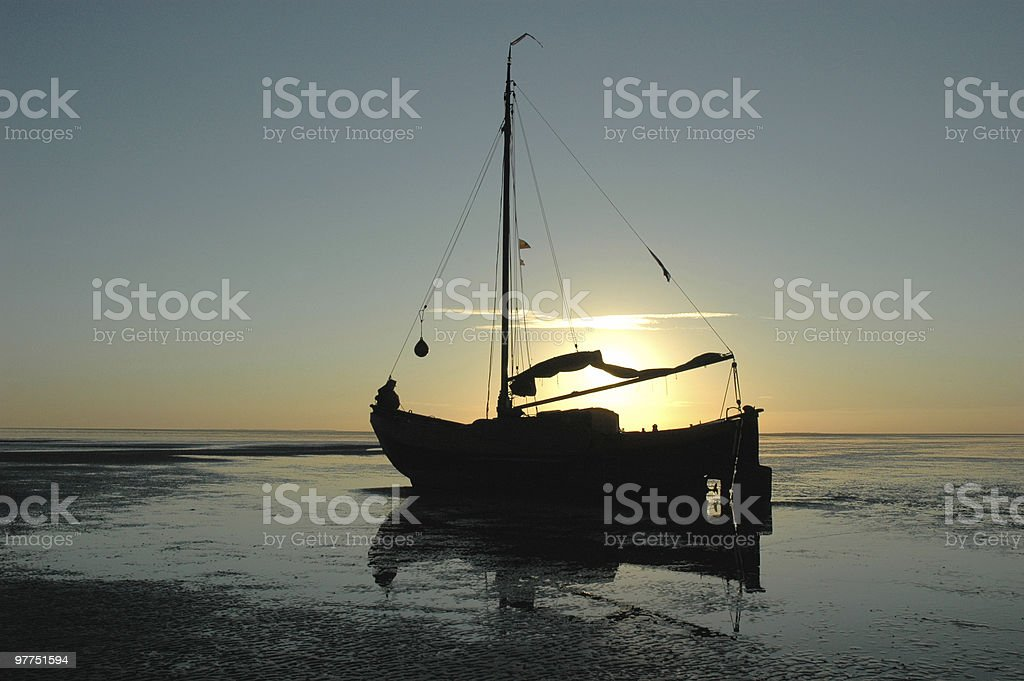 sailing vessel (silhouette) royalty-free stock photo