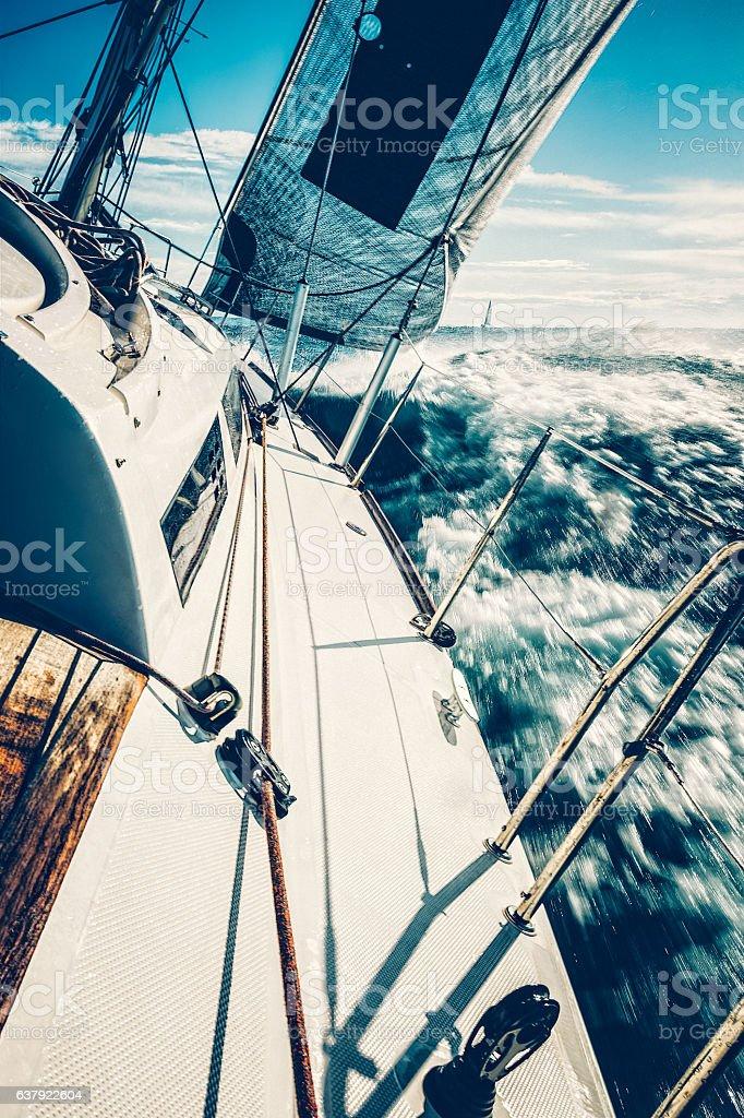Sailing with sailboat on regatta stock photo