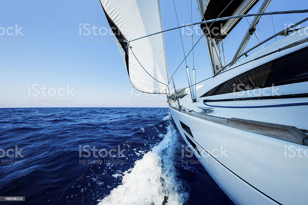 Sailing with sailboat royalty-free stock photo