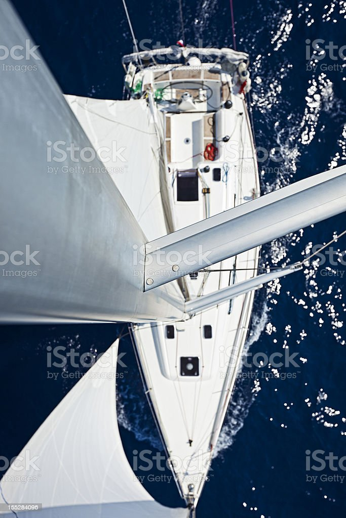 Sailing with sailboat, view from above royalty-free stock photo