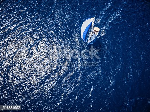istock Sailing with sailboat, view from drone 518831952