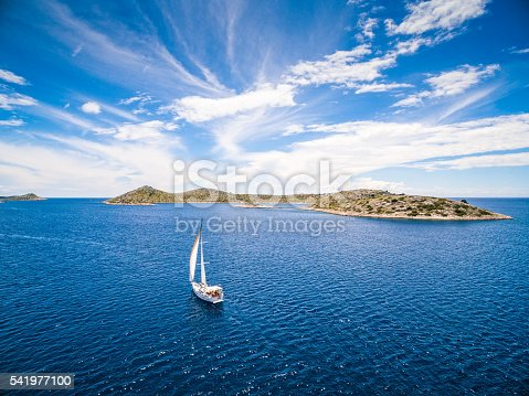 Sailboat during sailing. High angle view from drone (quadcopter) Phantom 3. Model released.