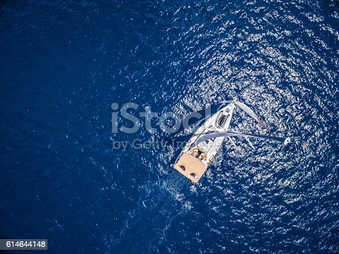 istock Sailing with sailboat, view from drone 614644148