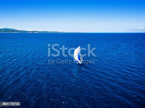 Sailing With Sailboat View From Drone Stock Photo & More Pictures of Above