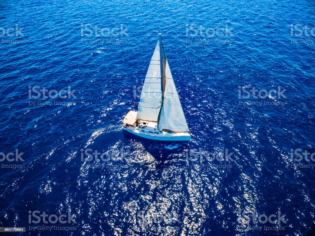 Sailing with sailboat, view from drone royalty-free stock photo